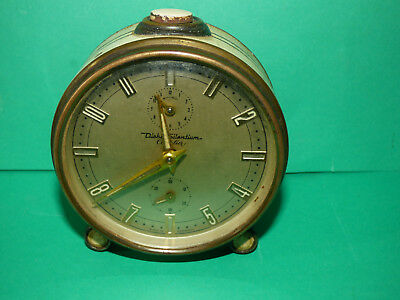 Vintage Alarm Clock-Diehl Silentium Cavalier Alarm Clock Mechanical TESTED