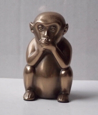 "Speak Not Monkey Solid Brass Statue ""For the age of unending Investigations"""