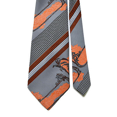 Vintage Silk Mens Tie Gold Bear Orange Grey Brown Floral