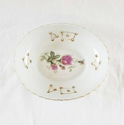 Vintage Ceramic Oval Trinket Dish Soap Dish Drain Holes Gold Accents Pink Roses