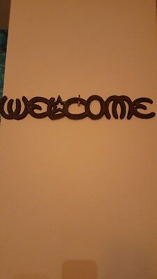Cast Iron Welcome Sign Texas Horse Shoe Welcome Sign Vintage