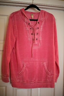 GREEN TEA Mineral Wash Lace Up Hoodie *** FREE SHIPPING ***