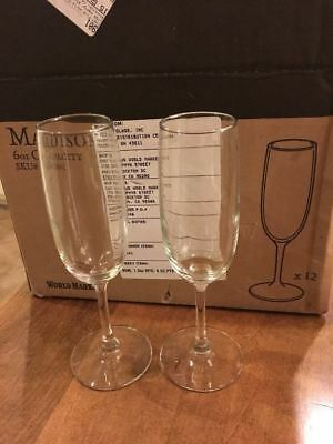 "Set of 12 - New Libbey Madison 8"" Tall - 6 ounce Champagne Flutes - Made in USA"