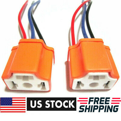 2x H4-9003-HB2 Female Pigtail Ceramic Headlight Connector-Plug-Adapter-Socket