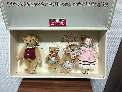Steiff Goldilocks Set. 3 Bären & Goldilocks. Mit Karton !