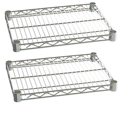 """Commercial Kitchen Heavy Duty Chrome Wire Shelves 18 x 24""""  (Box of 2)"""