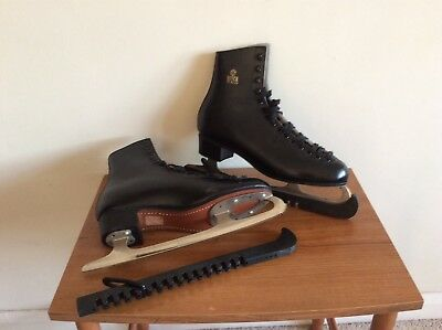 FIGURE ICE SKATES SIZE 9/43 BLACK MENS good condition including blade guardsi