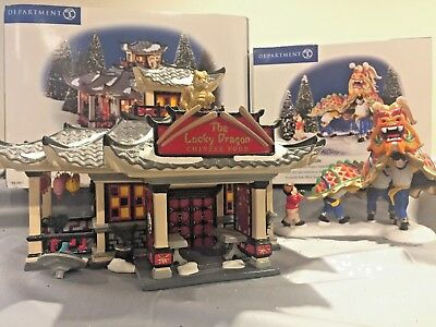 """Department 56 Snow Village """"The Lucky Dragon Restaurant,"""" and """"Dragon Parade"""""""