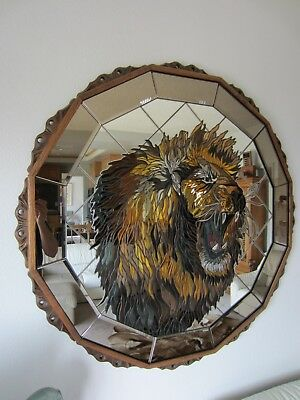 Large 5' African Lion Mirror Mosaic Of Cut Glass, Signed By Artist Ron Snodgrass