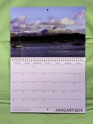 Oban Calendar 2019 A4 size opening to A3 with room for writing appointments etc