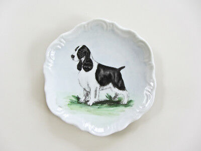 "Barnhart USA 4"" Porcelain English Springer Spaniel Dog Decorative Plate"