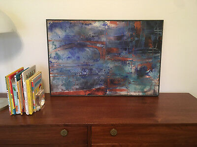 Vintage Mid Century Modern Large Abstract Oil Cloth Mixed Painting - Signed
