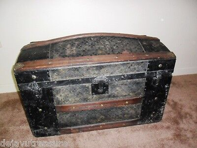 ANTIQUE 1840s CAMELBACK STEAMER TRUNK CHEST Wood / Patterned Tin+ Metal - Pirate
