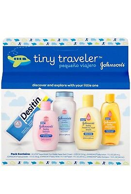 Johnson's Tiny Traveler, Baby Bath And Baby Skin Care Products, 5 pack
