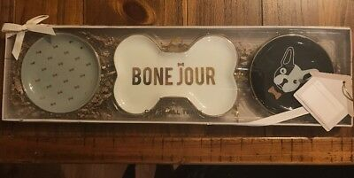 DogHaus 3 Pc Bone Jour French Bulldog Ceramic Catch All Trays Gift Set Box & Tag