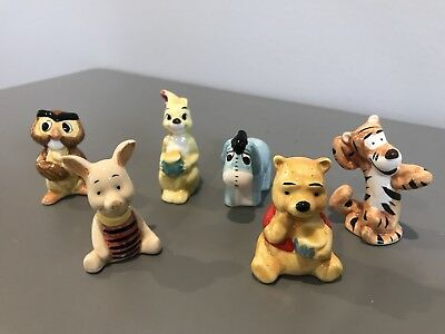 Vintage Winnie The Pooh Ceramic Miniatures COMPLETE Set Of 6 Sears 1970