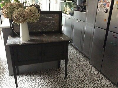 Antique Edwardian Marble Top Washstand Castor Wheels Chalk Painted Charcoal Grey