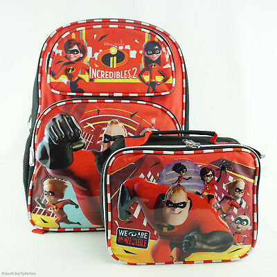 Disney Pixar The Incredibles 2 Backpack and Lunch Box Bundle Family