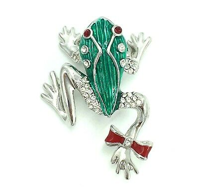 New Frog Pin Red Bow Eyes Green Reptile Swarovski Crystal Jeweled By Rucinni NIP