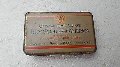 Vintage BSA Boy Scouts America Official First Aid Kit Tin Bauer & Black
