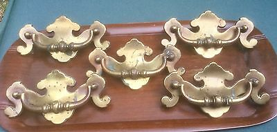 Vintage Large Solid Brass Chippendale Style Furniture Drawer Pulls Set Of Five