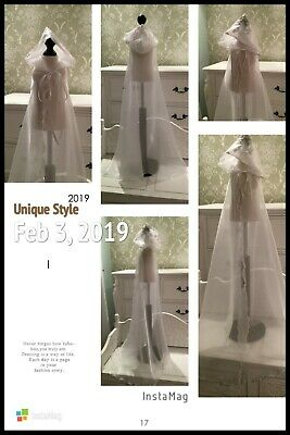 HandMade LONG BABY GIRLS IVORY / WHITE Christening  Organza Cape  0-18months