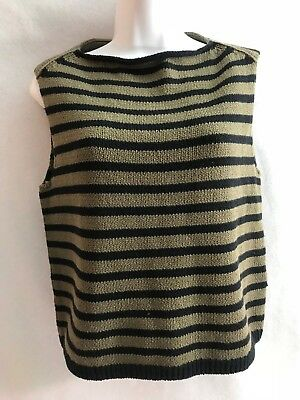 Vince Women's Black Khaki Striped Cotton Cropped Shell Sweater/Pullover Small