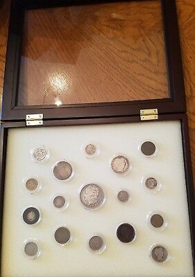 17 Coins of 19th Century in Glass Covered Case. Half the price of similar sets !