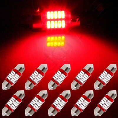 10x Red Lamp 31mm Car LED Bulb Interior Festoon 4014 10-SMD Dome Map Lights 12V
