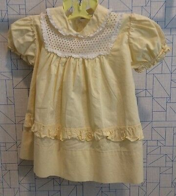 vintage 1950's yellow cotton baby girl dress, lace and eyelet trim