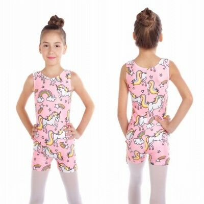 Kids Gymnastics Leotards Ballet Dance Bodysuits For Girls 2-10Y Lovely Unicorns