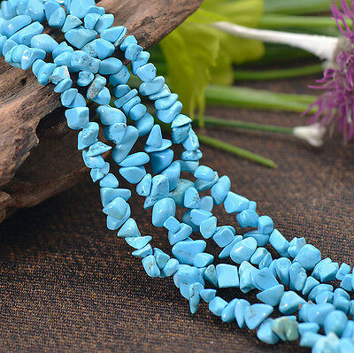 Blue Howlite Turquoise Gemstone Freeform Beads 32''Strand 5x9MM