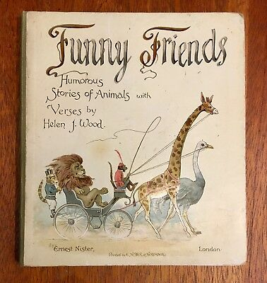 """""""Funny Friends"""" By G. H. Thompson, Nister 1892, Children's Antique Book, Scarce"""