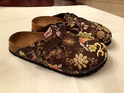 b971958ff8746 Papillio by Birkenstock Boston Brown Floral Clogs Shoes Size 36 N or 6  Narrow
