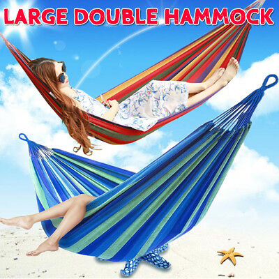 Huge Double Cotton Hammock Chair Hanging Swinging Camping Foldable Red Or Blue