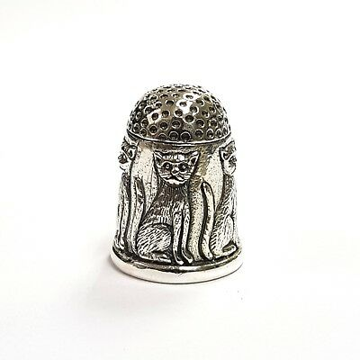 Beautiful Victorian Style Cat Kitten Embossed Thimble 925 Sterling Silver