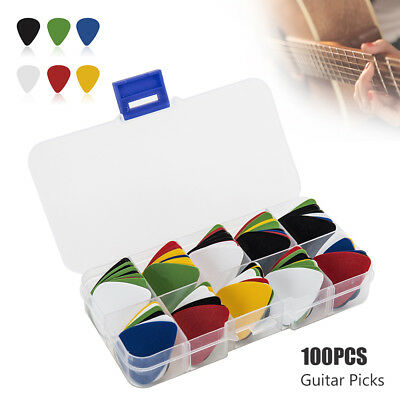100X Acoustic Electric Bass Guitar Picks Plectrums+Case(Various 6 thickness)