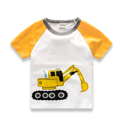 White Baby Boy Girl Clothes T-shirt Child Toddler Excavator Shirts Cotton Tops
