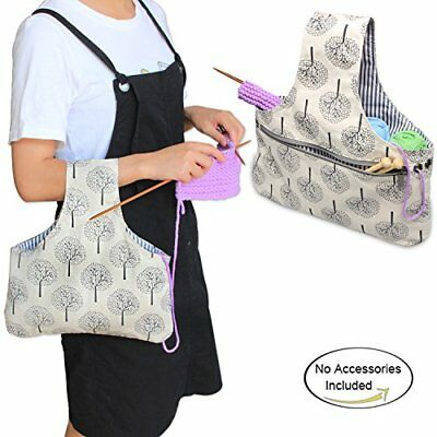 Teamoy Knitting Tote Bag, Travel Canvas Project Wrist Bag for knitting Needlesu