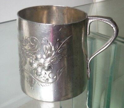 Small Victorian Bright Cut Silver Plated Child'S Tankard/christening Cup