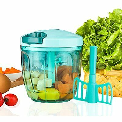 Manual Food Processor Vegetable Chopper With 5 Blades, Easy Hand Pull  Portable