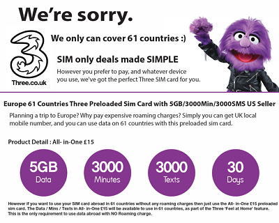 UK and Europe 43 Countries Prepaid Sim Card with 5GB/3K Min/3K SMS US Seller