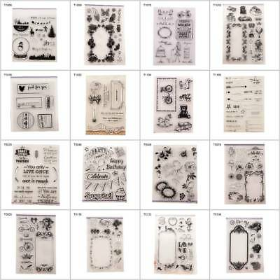 Transparent Silicone Clear Floral Stamp Sheet Cling Scrapbooking Cards DIY Decor