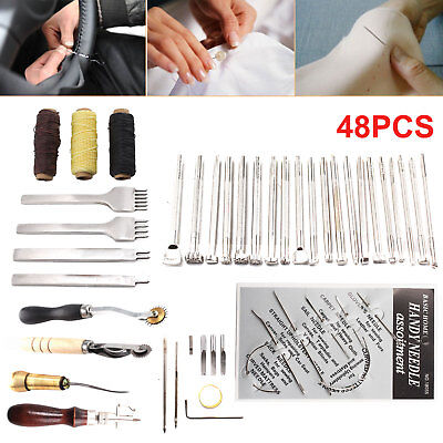 48Pcs Leather Craft Tools Sewing Stitching Punch Carving Work Saddle Groover Kit