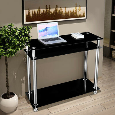 3-Tier Black Glass Console Table Stainless Steel Leg Hall Table Modern Furnitur