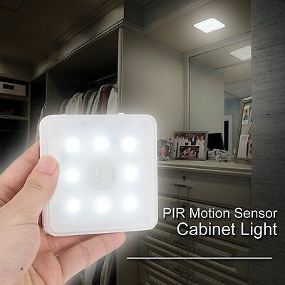 4X PIR Motion Sensor LED Light USB Rechargeable Cabinet Closet Wall Night Light