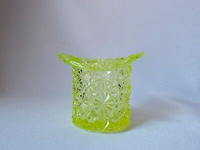 "Antique Fenton ""Daisy And Button"" Vaseline Uranium Glass Top Hat Posy Vase,"