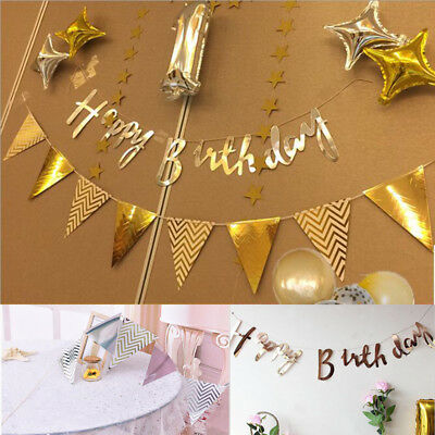 Rose Gold Happy Birthday Letter Bunting Banner Garland Hanging Party Decoration