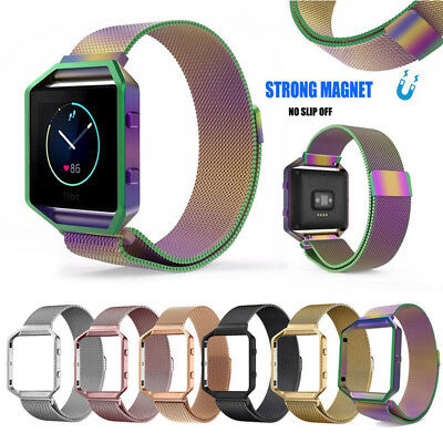 Milanese Magnetic Stainless Steel Wrist Band Strap +Metal Frame For Fitbit Blaze