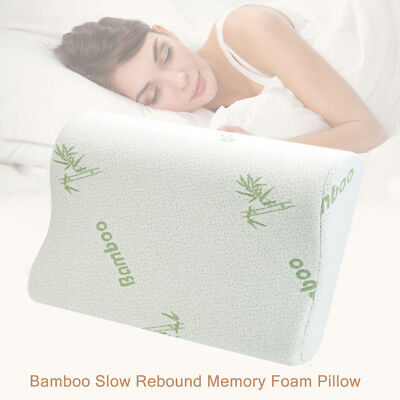 Luxury Bamboo Pillow Anti Bacterial Memory Foam Fabric Cover 50 X 30 X 7CM AU